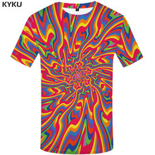 KYKU Dizziness T shirt Men Vortex Graphic Tee Colorful Funny T shirts Black Hole Japan Style 3d T-shirt Printed Tshirt(China)