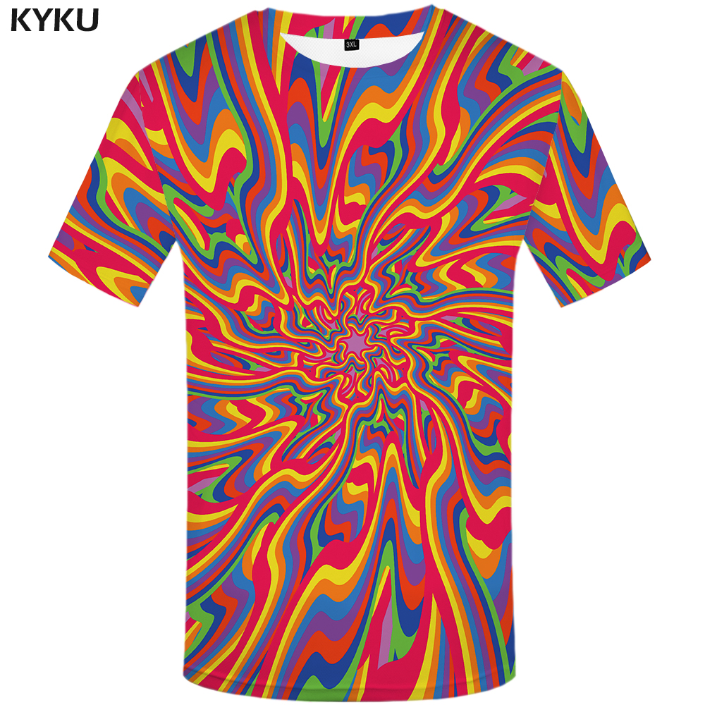 KYKU Dizziness T shirt Men Vortex Graphic Tee Colorful Funny T shirts Black Hole Japan Style 3d T-shirt Printed Tshirt