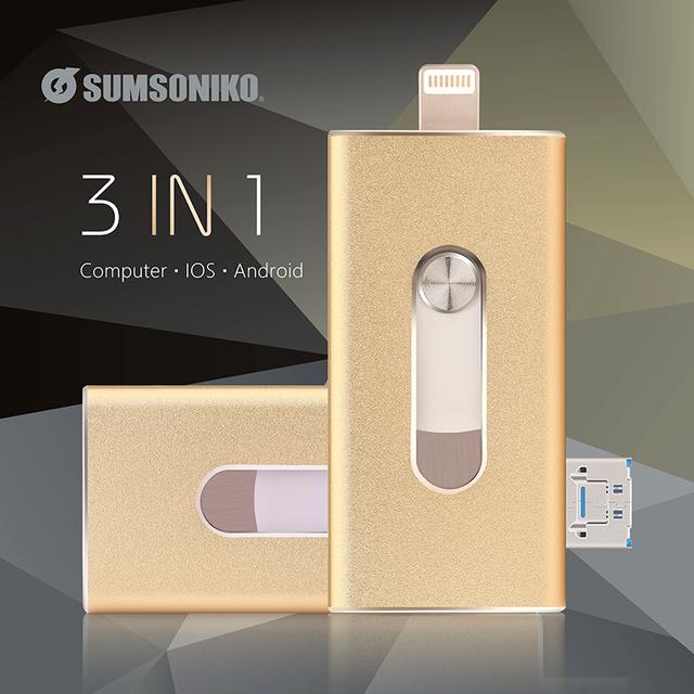 Para iOS Android Ordenador USB Flash Drive de Disco de Destello Móvil 3IN1 Acero Inoxidable Regalo Pen Drive 128 GB 32 GB 16 GB