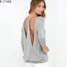 Foonee 2017 Summer T-Shirt Women Spring Long Sleeve T Shirt V-neck Backless Sexy tshirt hollow out Poleras De Mujer Plus Size