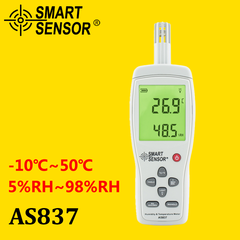 AS837 Humidity Temperature Meter digital hygrometer humidity meter gauge temperature humidity sensor -10~50C 5%~98% digital indoor air quality carbon dioxide meter temperature rh humidity twa stel display 99 points made in taiwan co2 monitor