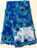 Französisch 3 d Tüll Blume Bestickt Spitzenbesatz 2017 Neuesten Art Chiffon Perlen Blaue Spitze Afrikanische Französisch Schnürsenkel Stoffe GD628B-3