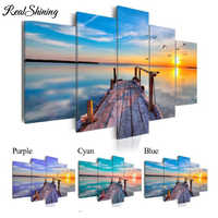 REALSHINING Beach Sunset 5pcs Diamond Painting full square 5d Diy Diamond Embroidery beadwork,Mosaic,stickers,puzzle FS2354