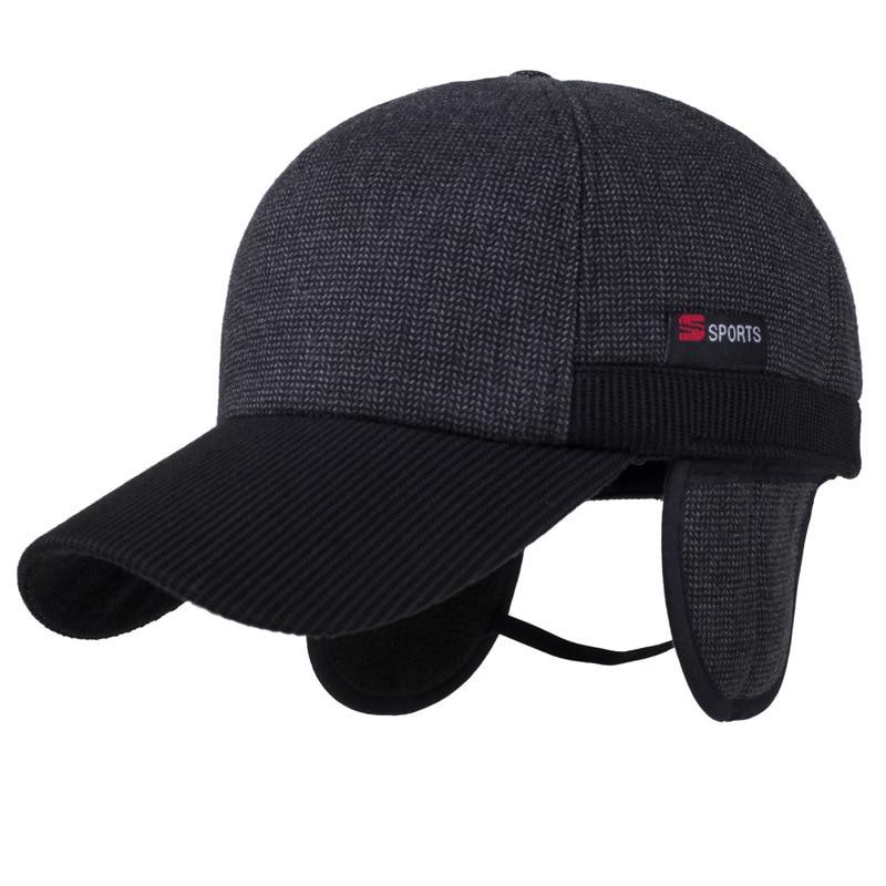 Warm Winter Verdikte   Baseball     Cap   Met Oren Men'S Katoen Hoed merk Snapback Winter Hoeden Oorkleppen Voor Mannen Vrouwen Hoed   cap