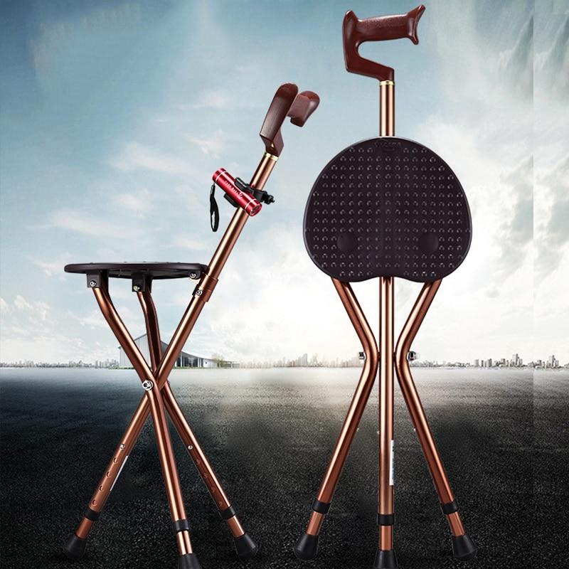 Folding Cane Seat Thick Aluminum Alloy Cane Stool Crutch