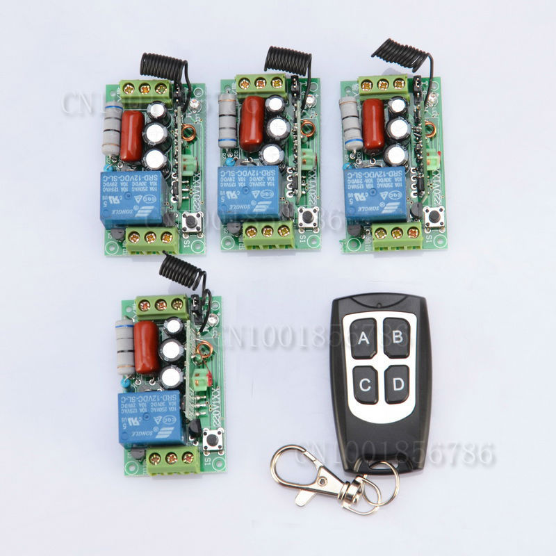 220V Wireless Remote Controller Wireless Power Switch System Receiver& Transmitter 1CH 10A Light Lamp LED SMD ON OFF 220v 1ch rf wireless remote switch wireless light lamp led switch 1 receiver 2 transmitter 315 433 remote on off controller
