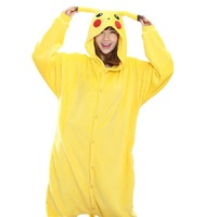 Pokemon Go Pikachu Cosplay Animal Hoodie Sleepwear Pajamas Adult Yellow Unisex Pikachu Onesie Cosplay Costume Pikachu