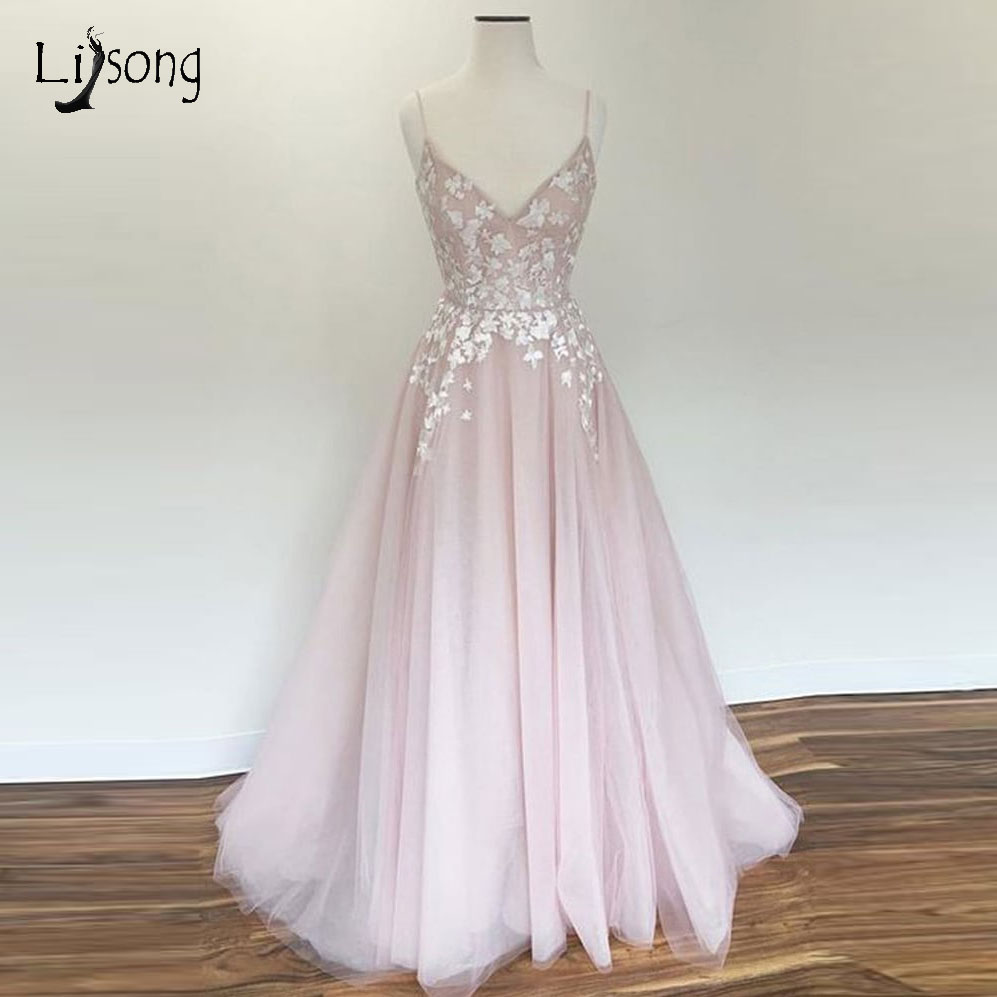 Pretty Blush Pink Lace   Evening     Dresses   For Women 2018 Long A-line Tulle Formal   Dresses   V-neck Custom Made   Evening   Gowns