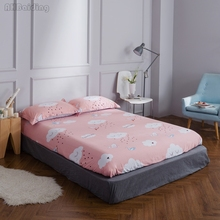 1pcs Cartoon Pink White Clouds Paper Crane Fitted Sheet 100% Cotton Mattress Cover Have Four Corners with Elastic Band Bed Sheet