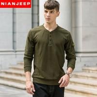 NIAN JEEP Brand clothing Autumn Long Sleeve Cotton T Shirt Men Dress 55
