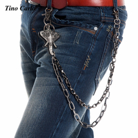Men Heavy 2 Strands GunMetal Wallet Chain Elephant Trunk KeyChain Biker Jeans Chain Trucker Fashion Hip