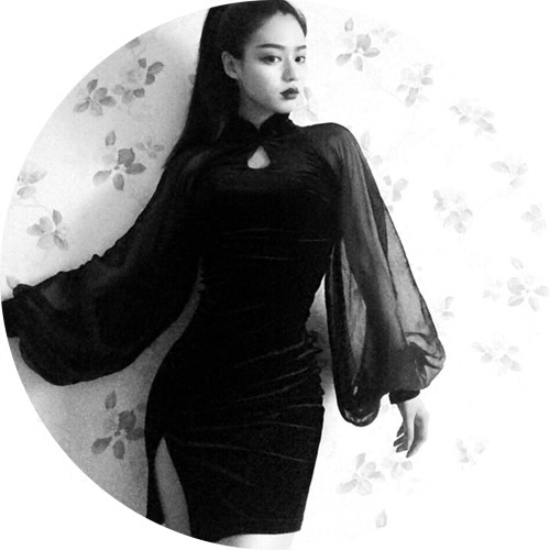 Chinese Style China Girl Dark Black Goth Gothic Hot Sexy -7173