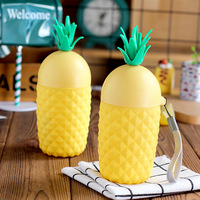 1 Pcs 260ML Pineapple Glass Fruit Creative Hand Cup Outdoor Sports Readily Cup Silicone Sleeve Portable
