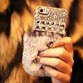 Luxo Real Rex Coelho coque Cabelo Cristal de Diamante Caso capa De Pele Para Samsung galáxia J1 J2 J3 J5 J7 2016 E5 E7 C5 C7 Carcasa Funda