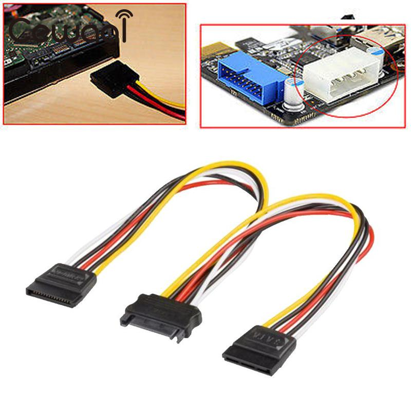 Universal 20CM SATA Male To 2 Female Wire Power Extension Cable Connector