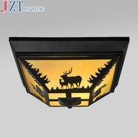 М американский классический Утюг потолочный светильник 3 кг Творческий Площади Prairie олень свет E14x3 ламп 40x23 см для гостиная Спальня коридор