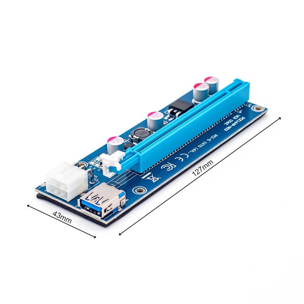 006C PC PCIe PCI-E PCI Express ライザー · カード 1x に 16x USB 3.0 データケーブル SATA に 6Pin IDE モレックス電源 BTC 鉱夫機