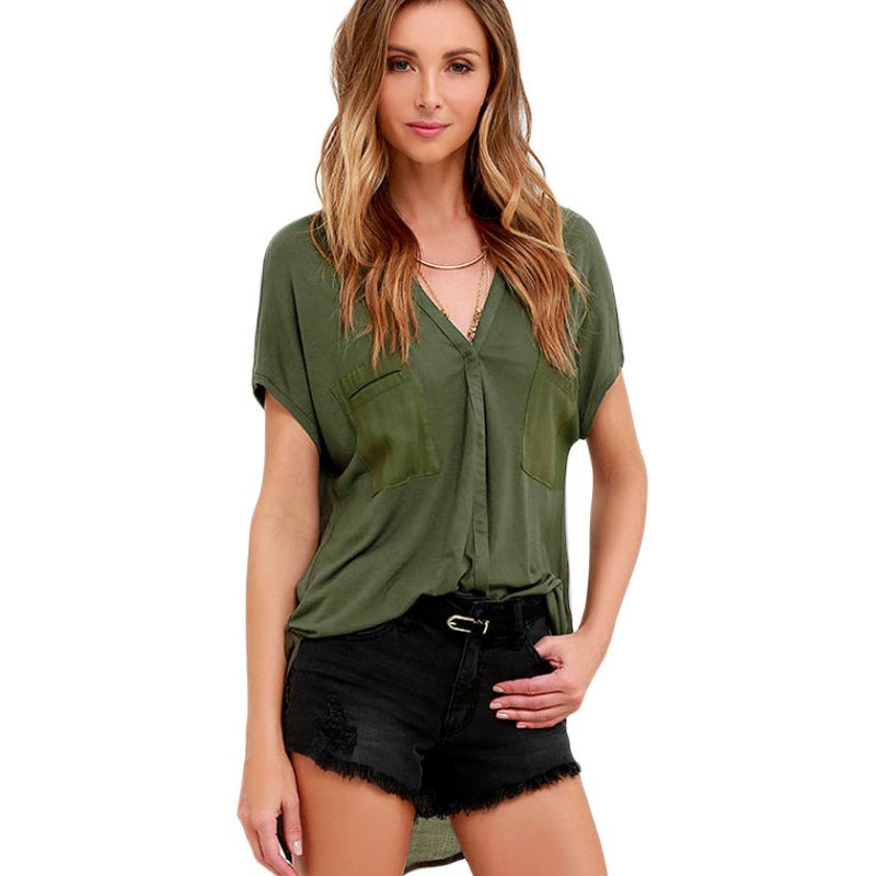 Olive green top women sexy short sleeve shirt women high low blouse femme ladies summer tops - Top sexy femme ...