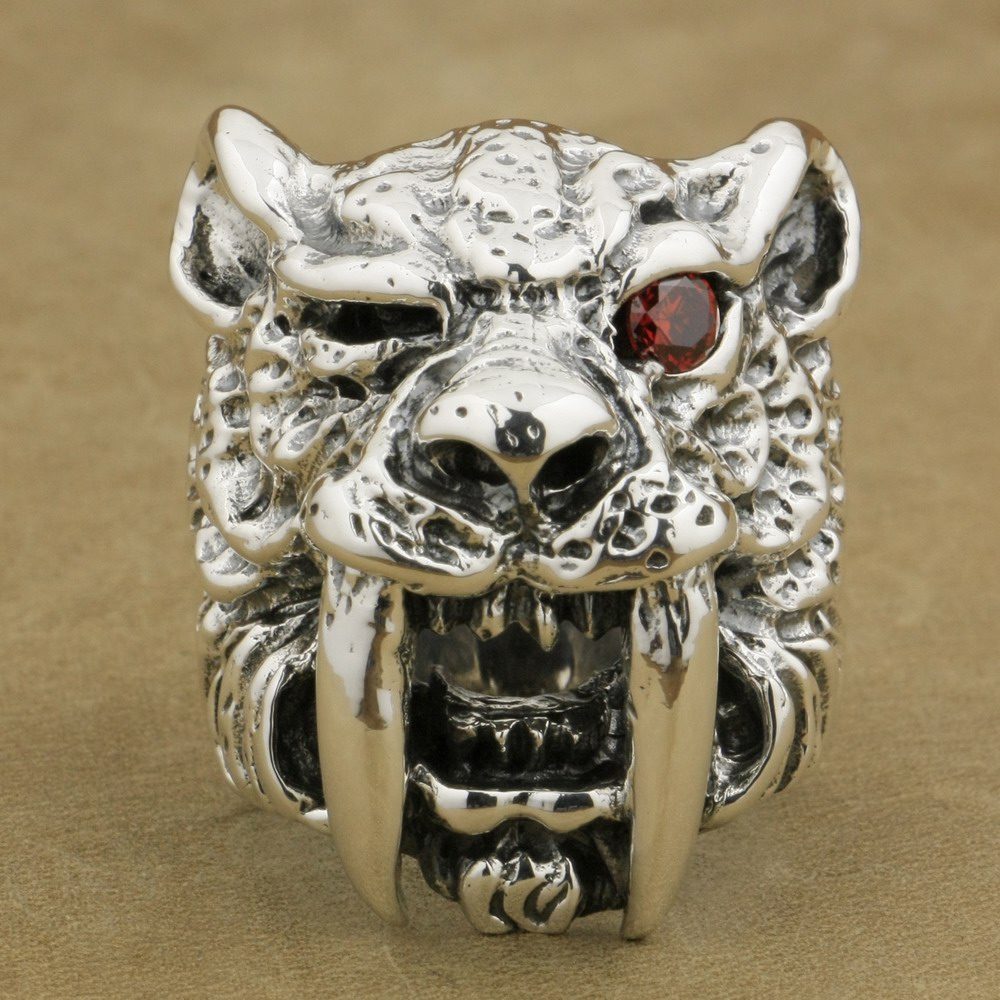 LINSION 925 Sterling Silver Red CZ Eye Sabretooth Ring Mens Biker Rock Punk Tiger Ring TA17 US Size 7~15 alloy tooth eye rock ring