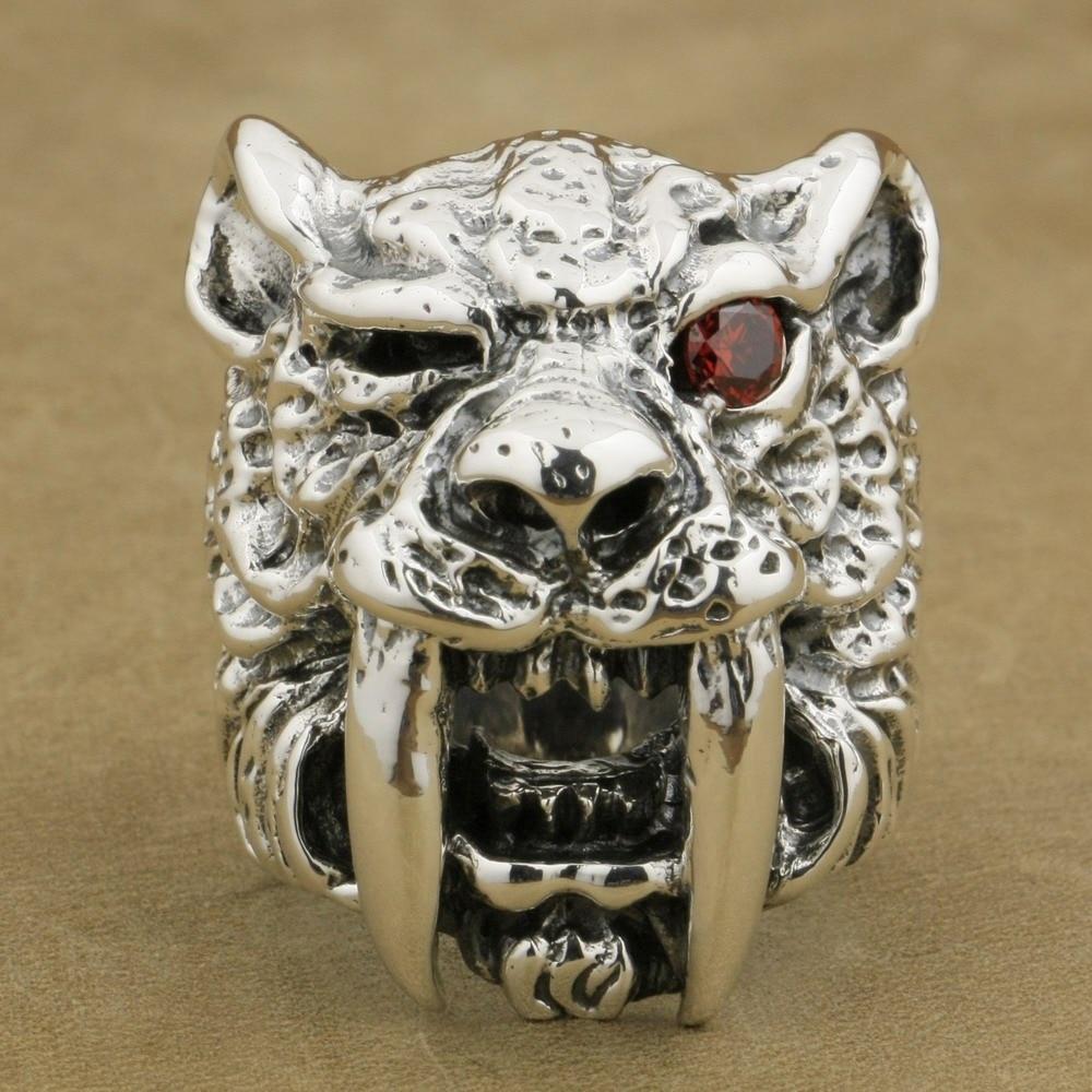 LINSION 925 Sterling Silver Red CZ Eye Sabretooth Ring Mens Biker Rock Punk Tiger Ring TA17 US Size 7~15