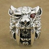 Linsion стерлингового серебра 925 Красный CZ глаз саблезуб кольцо мужские Байкер в стиле панк рок Тигр кольцо ta17 нам Размеры 7 ~ 15