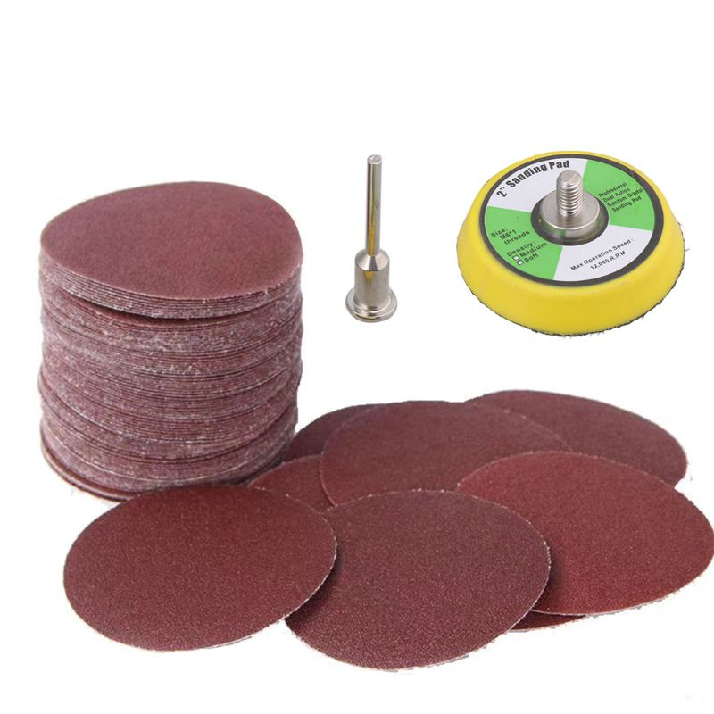 1Set 50 Mm Sanding Paper Sanding Discs And Shaft Hook And Loop Sanding Pad Polishing Tool
