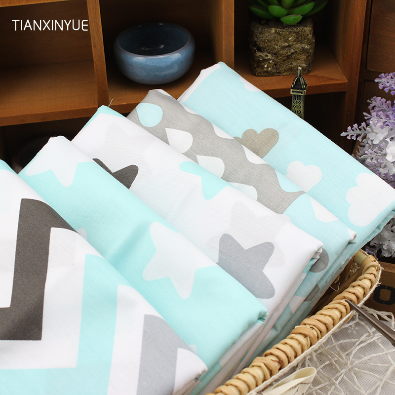 5pcs/lot 40cm*50cm Blue Stars Raindrops Chevron Printed Cotton Fabric for Home Textile Bedding Quilting Tissue sewing Patchwork