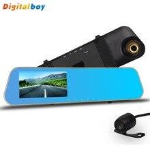 Full HD 1080 p Voiture Caméra Rétroviseur Auto Voiture Dvr double Objectif Dash Cam Enregistreur Vidéo Registrator Caméscope Caméra Arrière 720 P