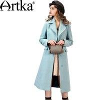 Artka Осенняя женская обувь новый 2 цвета Slim Fit Шерстяное пальто отложной воротник с длинными рукавами Однобортный затянул талии пальто fa10267q