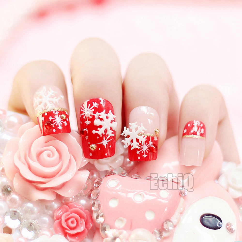 Sexy Red French Nail Tips Flat Medium Full Cover For Christmas Lady