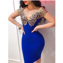 Fashion 2019 Women Sexy Slim Bodycon Dresses Lace Patchwork Evening Party Dress Appliques Pencil