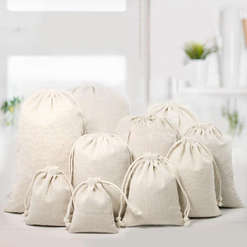 10pcs Linen White Storage Drawstring Bags Small Burlap Jute Sack Jewelry Natural Linen Pouch Drawstring Bags Gift