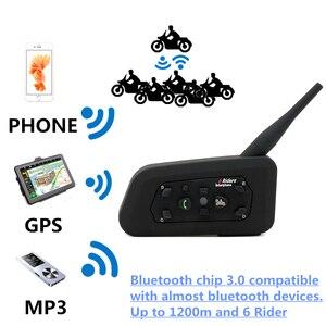 Image 2 - 2PCS V6 Motorrad Bluetooth Helm Headsets Intercom für 6 Fahrer BT Wireless Intercomunicador Sprech MP3 Bluetooth Headset