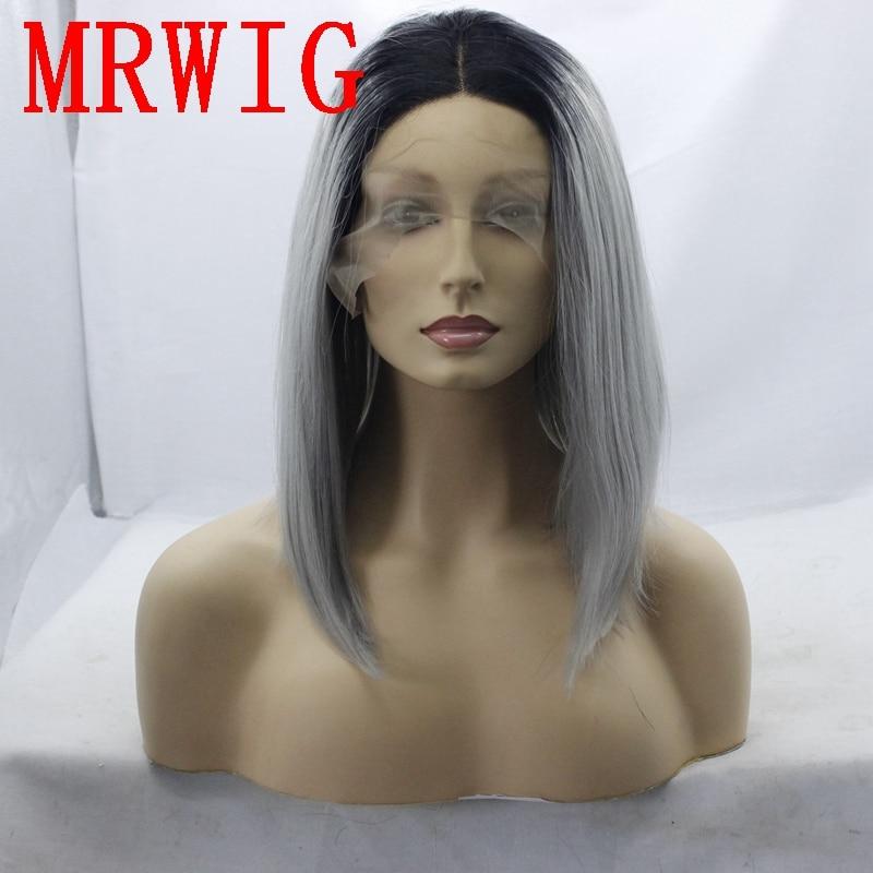 MRWIG 12 i kort bob rak syntetisk glansfri frampärm mittparti äkta - Syntetiskt hår - Foto 1