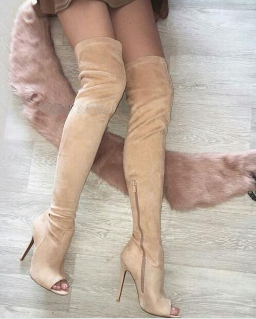 2ddec35d1f3 Women New Fashion Open Toe Beige Suede Leather Over Knee High Heel Boots  Sexy Thigh High