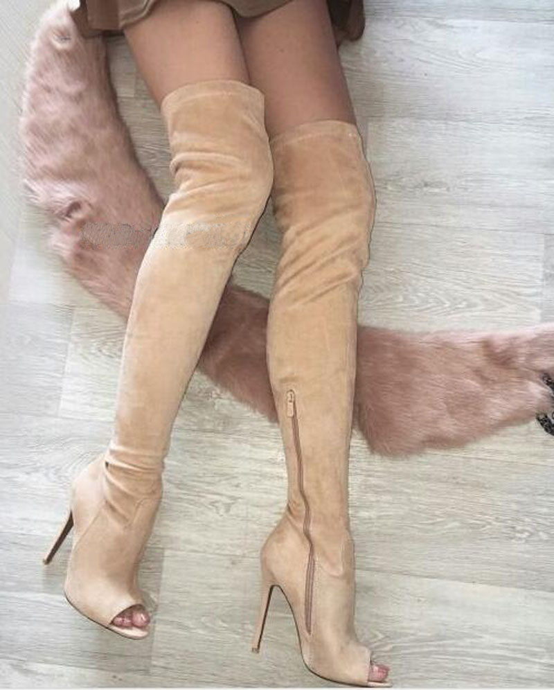 Women New Fashion Open Toe Beige Suede Leather Over Knee High Heel Boots Sexy Thigh High Long Gladiator Boots Real Pictures