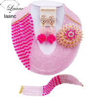 Laanc Pink Fuchsia Pink African Costume Jewelry Set Nigerian Beads Wedding Jewelry Sets Free Shipping C10JK023