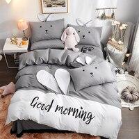 Cartoon fashion bedding sets bed linen duvet cover flat sheet pillowcase With bunny ears Soft comfortable 4pcs single queen #s
