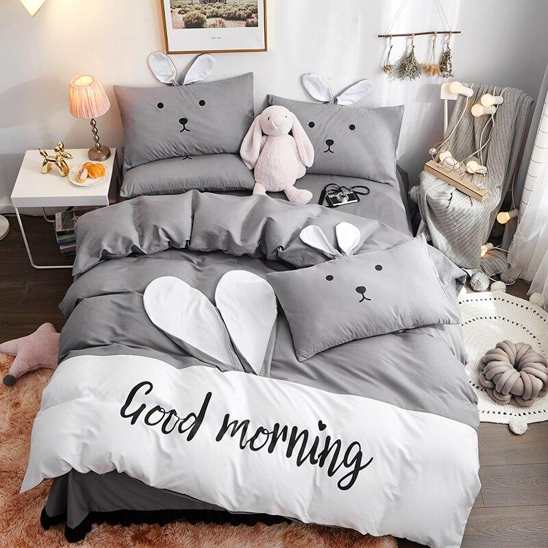 Cartoon fashion ensembles de literie linge de lit housse de couette drap plat taie d'oreiller avec oreilles de lapin doux confortable 4 pièces unique reine # s