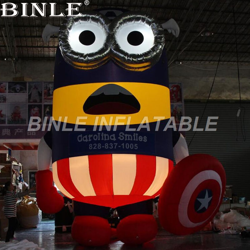 High quality cute 6m/20ftH giant inflatable minion with LED lights inflatable cartoon characters for advertising