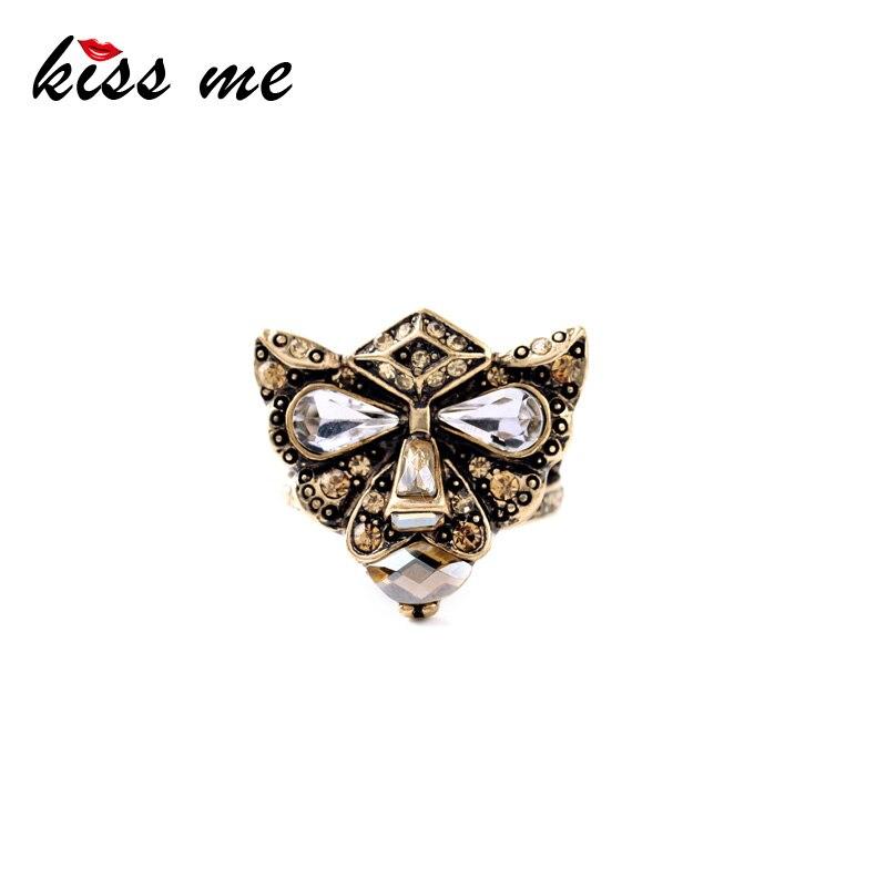b39fd2f3e Personalidad Retro oro antiguo Color Set cabeza del leopardo de cristal moda  anillo de las mujeres de la fábrica al por mayor