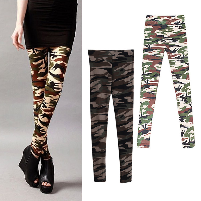 Hot Vogue Women Lady Girl Slim Camo Stretch Pants Leggings Trousers