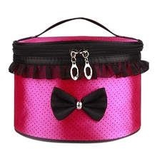 Promotions nylon makeup bag drums bow makeup handbags storage handbag cosmetic bag pouch portable travel tote
