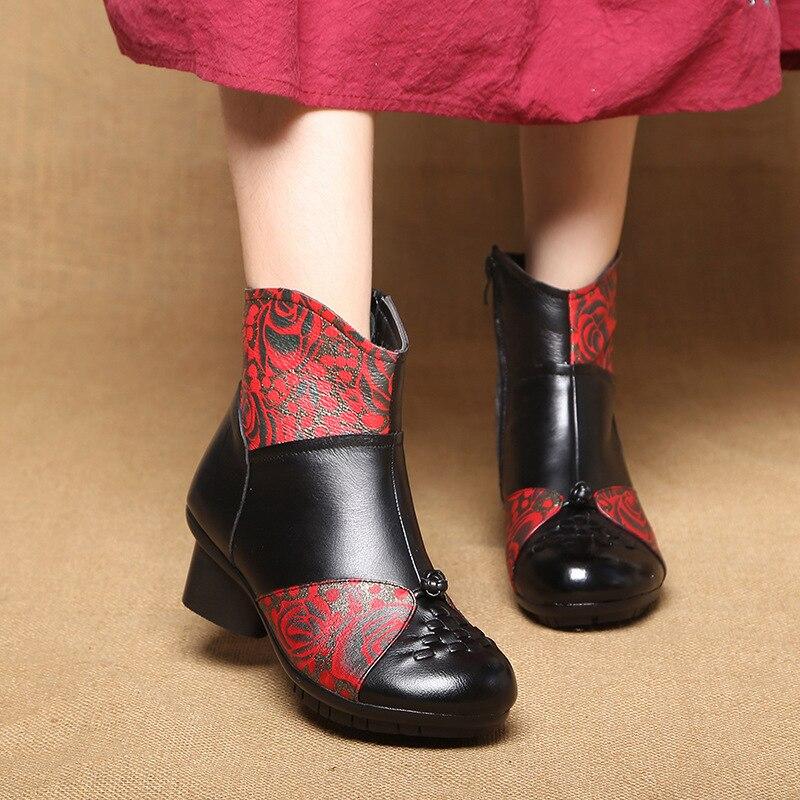 Cheville Cuir En Marque Hiver Non Zxryxgs De New rouge Bottes Chaussures Vache Impression Élégant Rétro slip Mode Femmes 2018 Boucle Noir eHWD9IE2Y