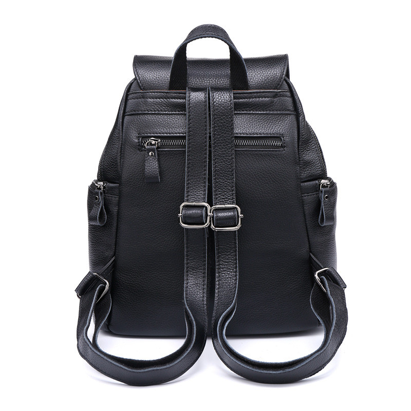 PNDME simple top layer cowhide ladies black backpack retro casual waterproof daily soft genuine leather women rucksack bagpack in Backpacks from Luggage Bags