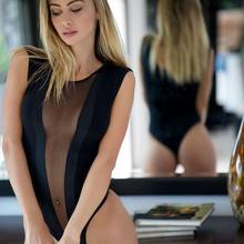 fe5622cd167 2017 New Front See Through Mesh Short Black Sexy Bandage Jumpsuits Summer Bodysuit  Wholesale(China