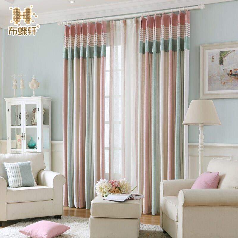 Korean And Modern Elegant Pink Blue Striped High Grade