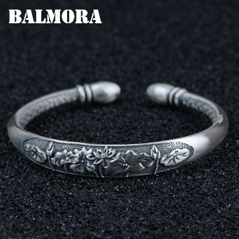 BALMORA 999 Pure Silver Six Word's Sutra Lotus Buddhism Bangles for Women Lover About 16 CM Jewelry Accessories Esposas SZ0377 balmora 999 pure silver buddha
