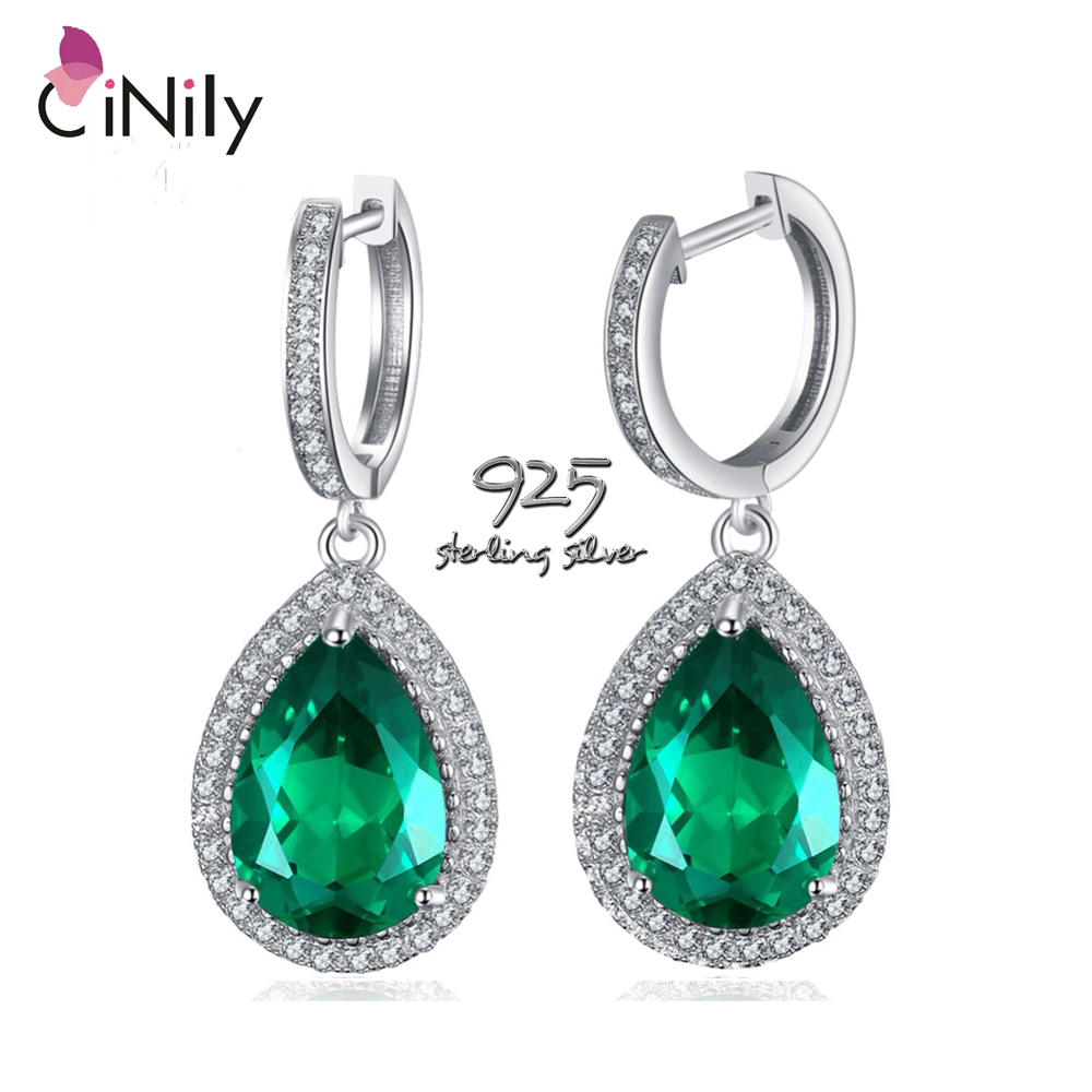 Original Luxus marke CiNily Authentische. Solide 925 Sterling Silber Grün Smaragd Schmuck für Frauen Hochzeit Ohrringe SE035