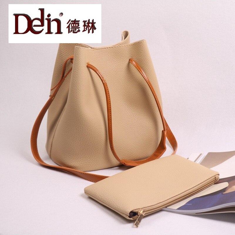 DELIN  2017 new contracted tassel smoke with bucket single shoulder bag Han edition hand his lash bag